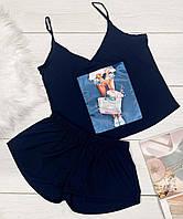 Комплект майка + шорты с рисунком, летняя одежда женская.