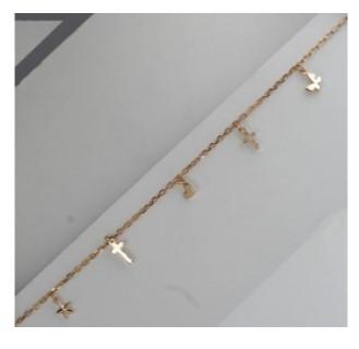 Золотой браслет якорный с кодвесками