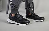 Кросівки на хлопчика, шкіряні чорні на липучках, фото 5