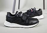 Кросівки на хлопчика, шкіряні чорні на липучках, фото 8