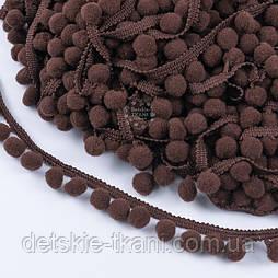 Тесьма с густыми помпонами 10 мм коричневого цвета (Польша)