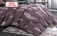 Полуторний підодіяльник з бязі - Перо коричневе, верх