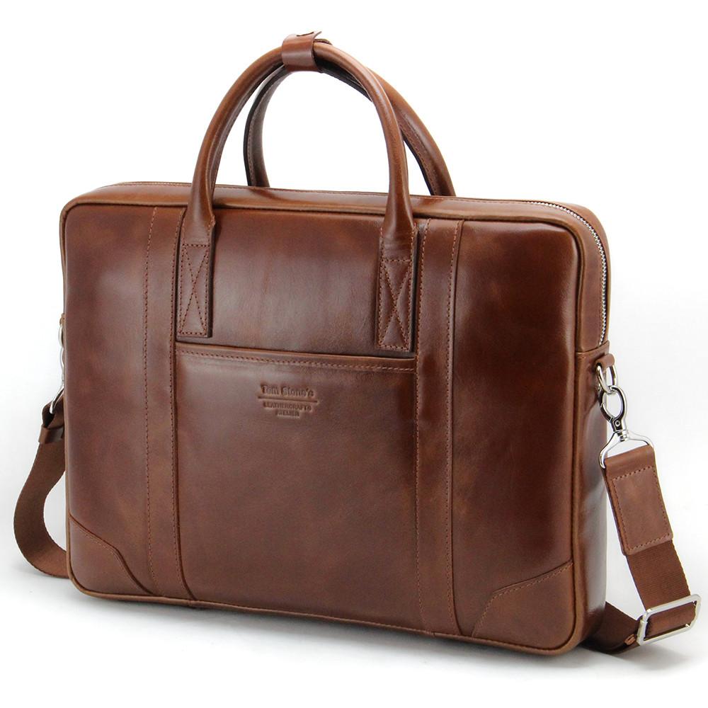 Сумка для ноутбука шкіряна 15.6', MackBook 16' Tom Stone 7071 коричнева