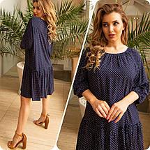 Літня сукня вільного крою великого розміру тонкий натуральна тканина штапель, різні кольори р. 48/54 Код 900С, фото 3