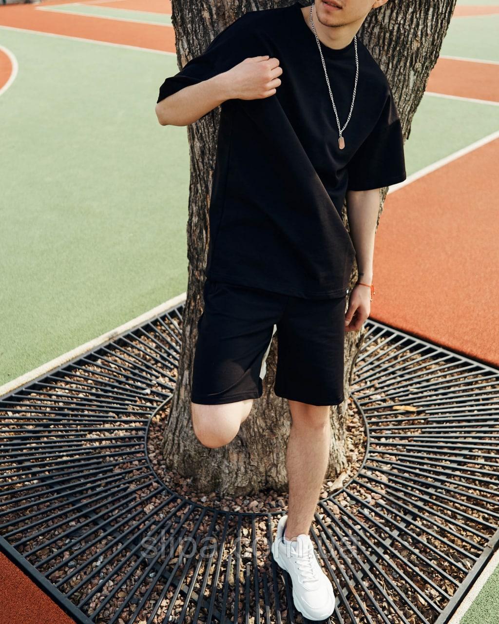 Літній спортивний костюм чорний оверсайз | двухнить | футболка + шорти