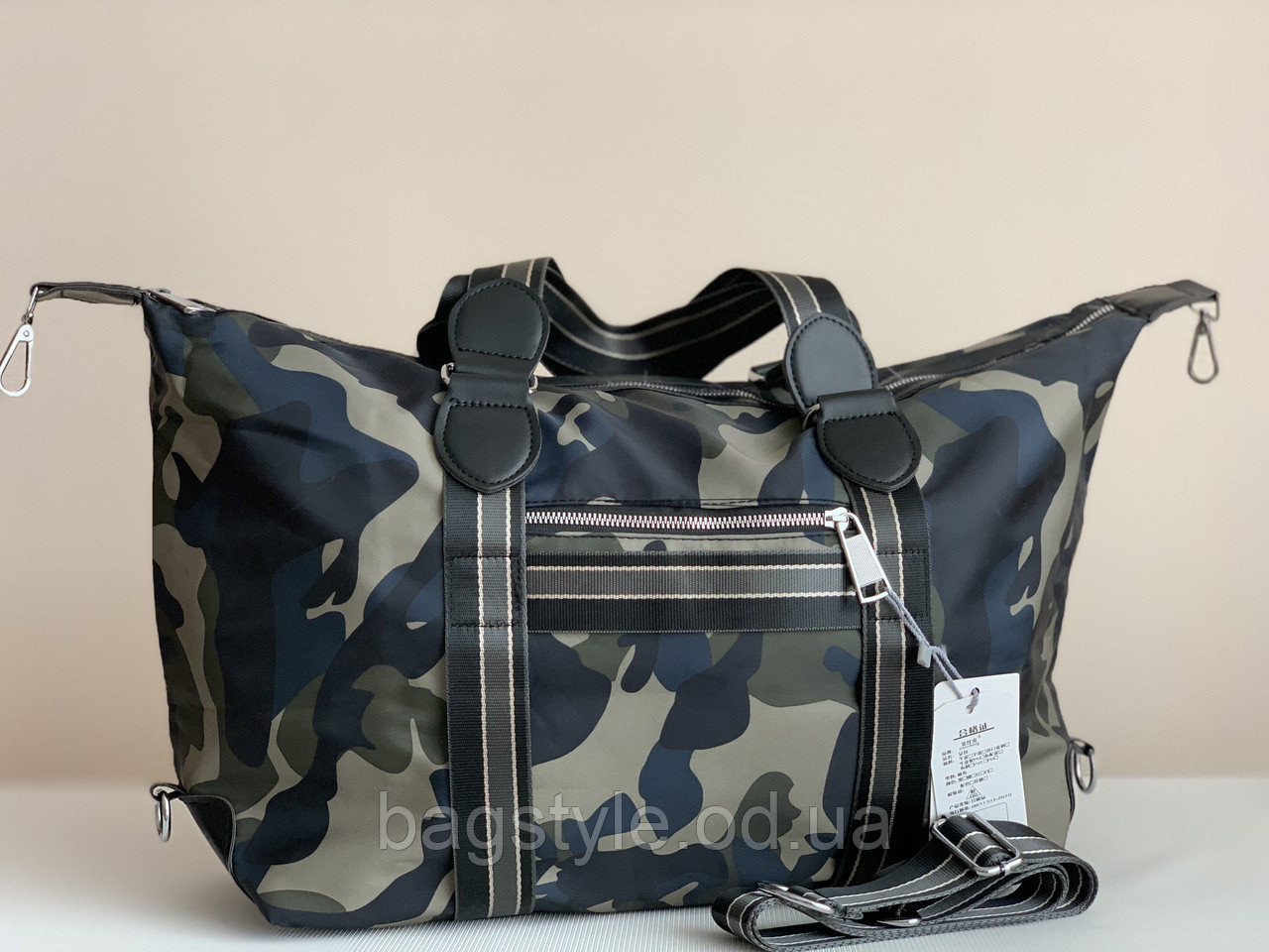 Текстильна спортивна дорожня сумка камуфляжна хакі