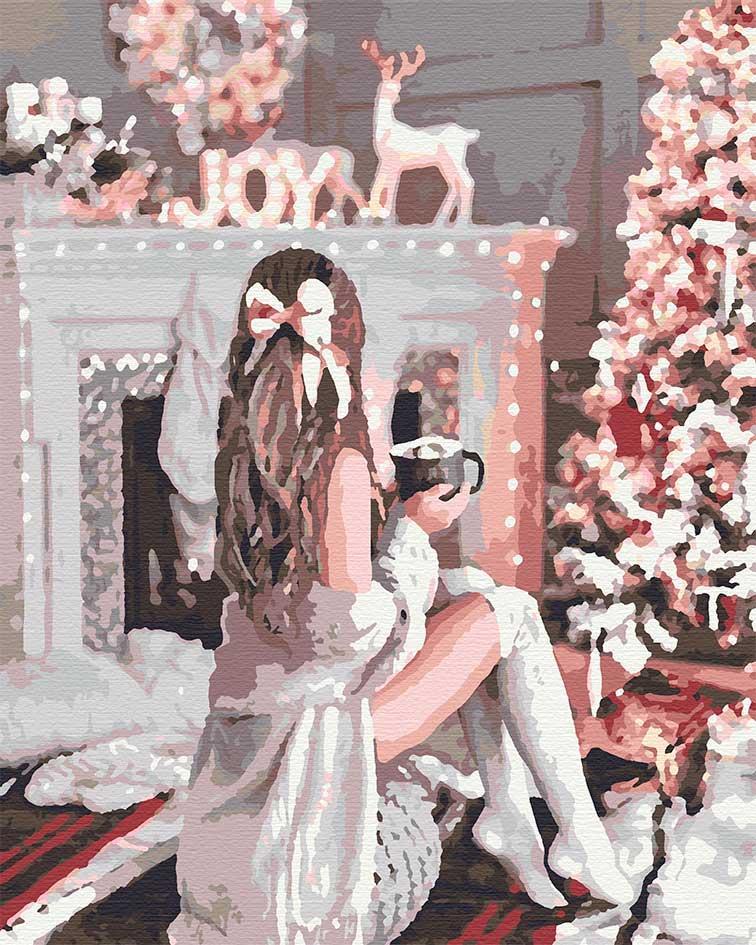 Картина по номерам люди девушка зимняя 40х50 Праздничная