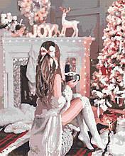 Картина за номерами люди дівчина зимова 40х50 Святкова