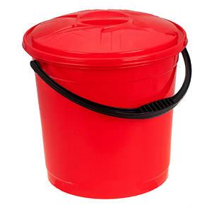 Відро R-plastic 12 л. кольорове з кришкою червоне 2582