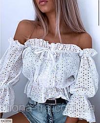 Жіноча блуза прошва на літо Оверсайз