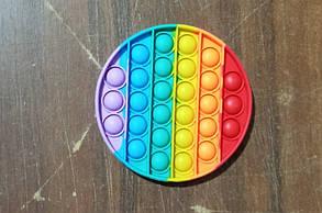 Антистресс сенсорная игрушка Pop It Квадрат Радужный NEW Bubble Разноцветная поп ит Popit