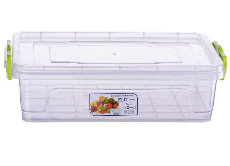 Контейнер пищевой Ал-Пластик Elit 3л. 310 х 205 х 89 мм. плоский