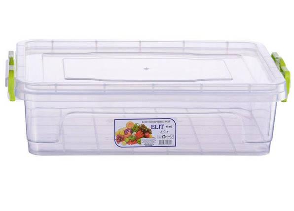 Контейнер харчової Ал-Пластик Elit 3л. 310 х 205 х 89 мм плоский, фото 2