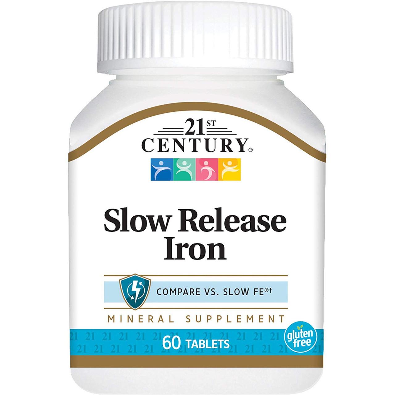 21st Century Slow Release Iron 45 mg, Залізо (60 таб.)