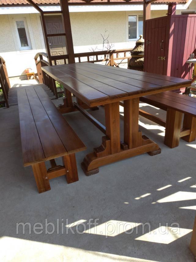 Стіл дерев'яний з лавками для саду, дачі  Люкс