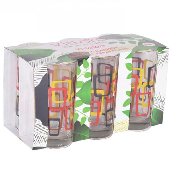 Набір стаканів Vittora Геометрія квадрат 6 шт 230 мл VT-5230/3