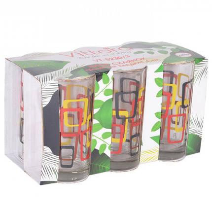 Набір стаканів Vittora Геометрія квадрат 6 шт 230 мл VT-5230/3, фото 2