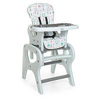 Дитячий стільчик-трансформер для годування зі столиком M 0816 Flowers Gray, фото 1