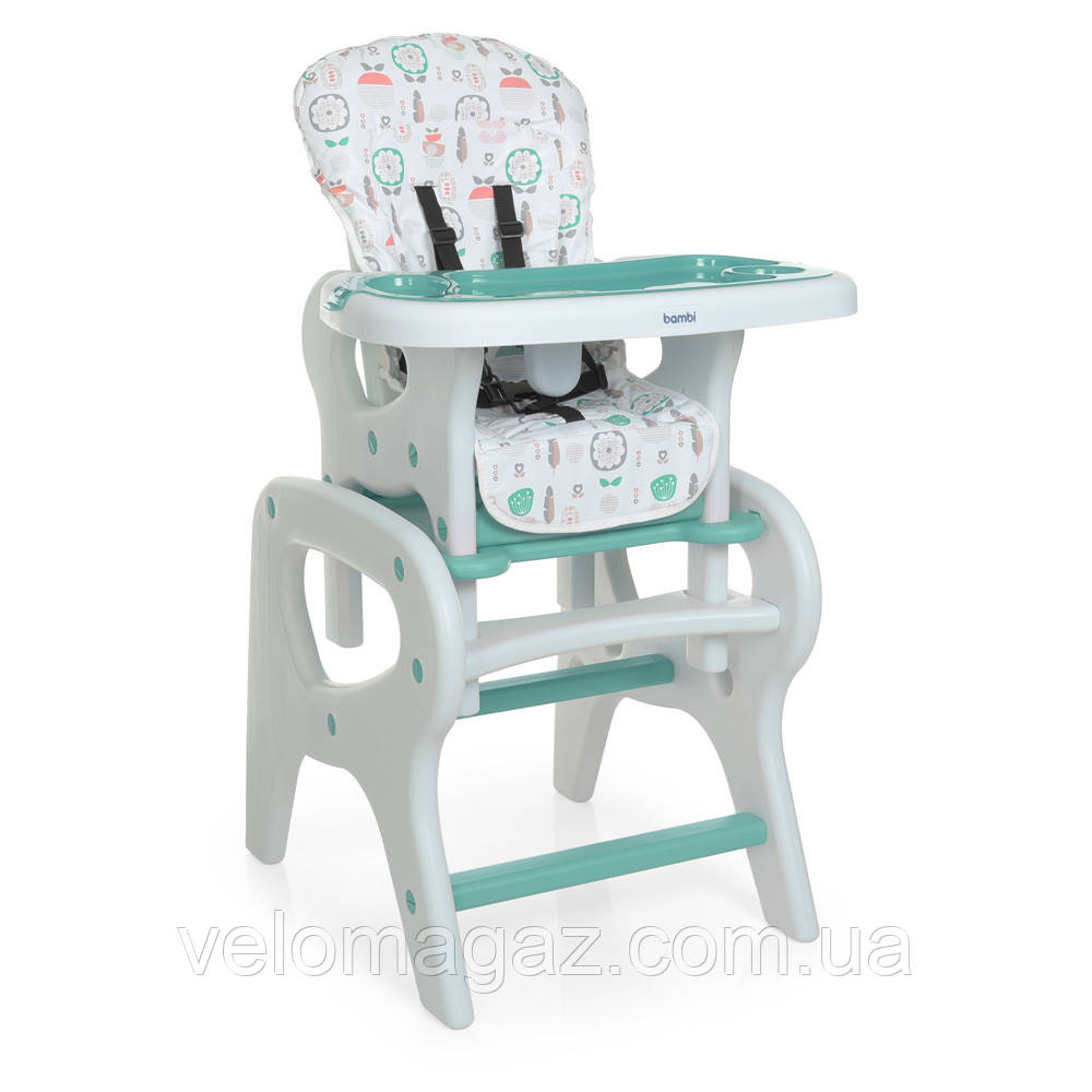 Дитячий стільчик-трансформер для годування зі столиком M 0816 Flowers Mint