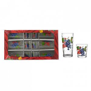 Набір Helios Едельвейс фрукти високий 6 склянок + 6 чарок 8261
