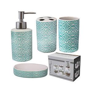 Набір аксесуарів для ванної кімнати S&T Блакитний візерунок 4пр. 888-120