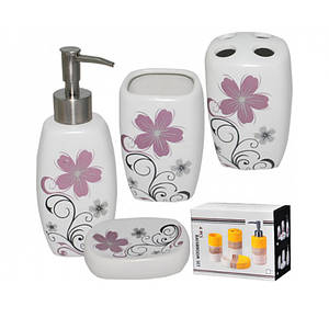 Набір аксесуарів для ванної кімнати S&T Незабудка 4пр. 888-045