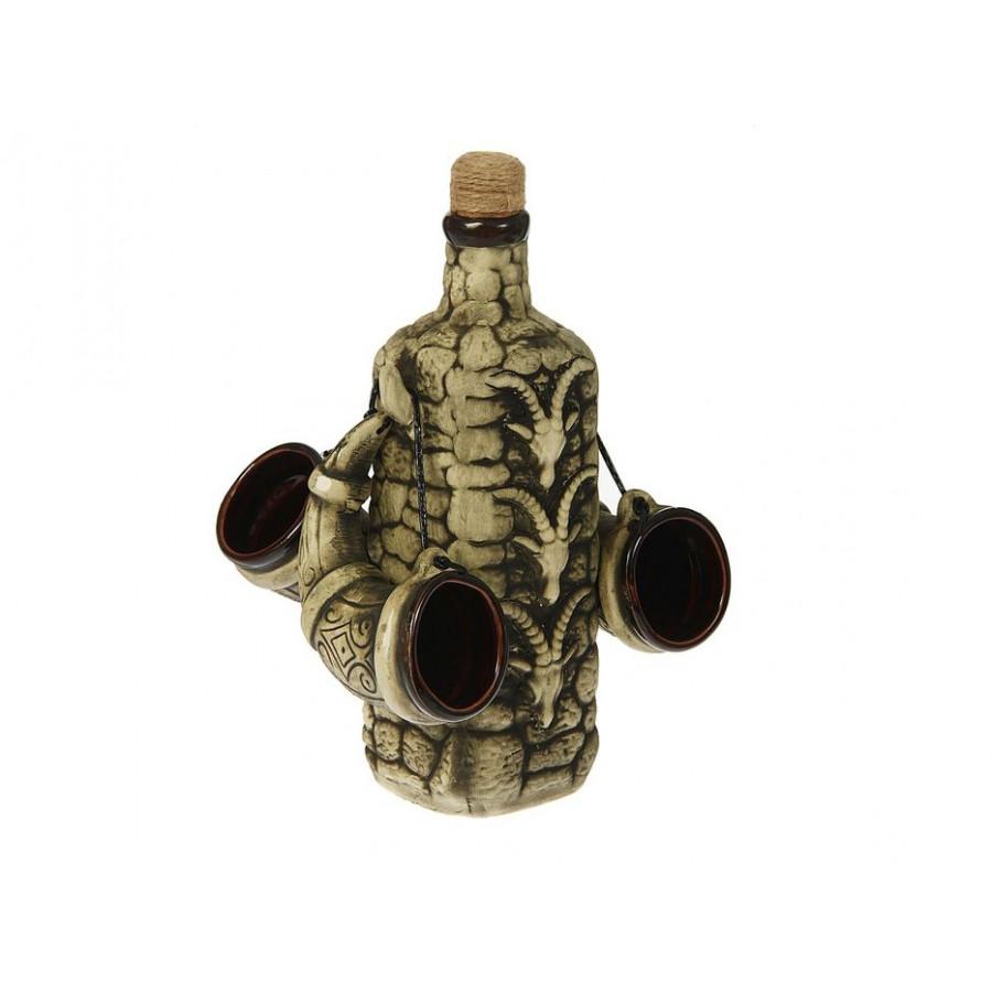 Набор винный Торский сувенир Сторожевая башня 4 пр (Бутылка + 3 рюмки) 13 ТС