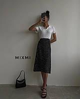 Длинная юбка в крупный и мелкий горошек Черный, 42-44,44-46