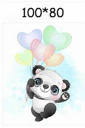 """Панелька из сатина для детского пледа """"Панда з кульками"""" 80*100 см"""