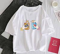 Белая женская футболка оверсайз на лето с рисунком на груди (р. 42-46) 78FU499
