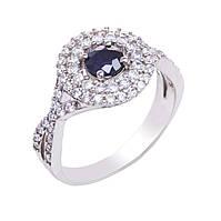 Серебряное кольцо с сапфиром и куб. цирконием 002-3110 размер:17.5;