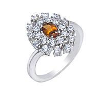 Серебряное кольцо с гранатом оранжевым и фианитами 010-4310 размер:18;