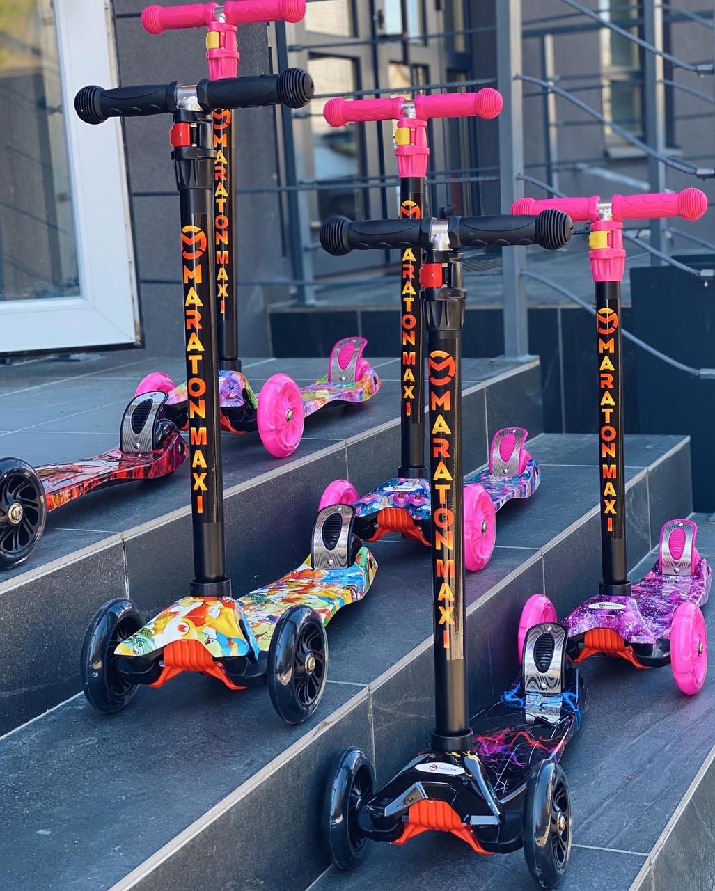 Самокат детский трехколесный со светящимися колесами Maraton PRINT