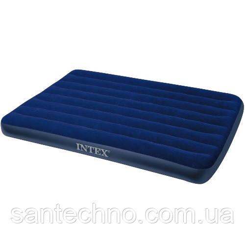 Матрас надувной велюровый Intex ( 137*191*25см, синий)