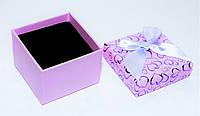 Коробка подарочная сиреневая малая для кольца ювелирных изделий Сердца День Валентина 4.5x4.5x3.5 см, фото 1
