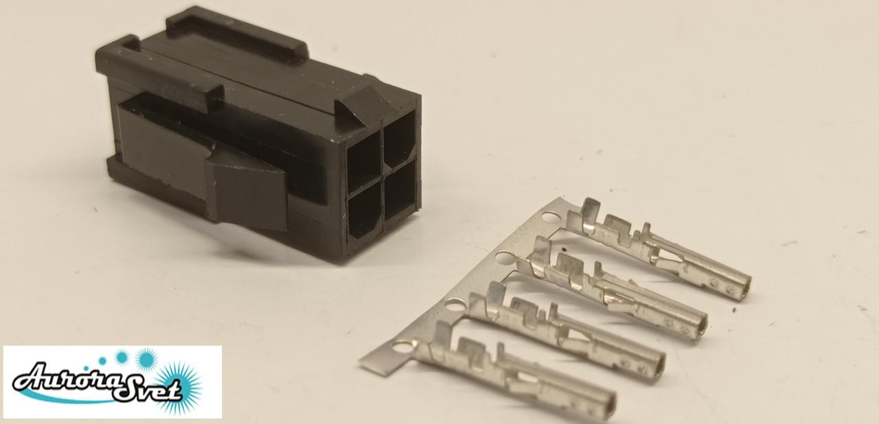 Разъем 4 контактный Mini-Fit вилка + контакты,для питания видеокарты под обжимку.Коннектор Molex 2x2Pin 4.2mm