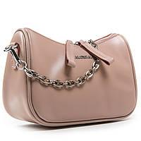 Женская сумка через плечо бежевого цвета кожа А. Rai классическая сумочка из натуральной кожи, фото 1