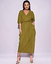 Женское платье на запах Натуральный лен Размер 50 52 54 56 58 60 62 64 В наличии 4 цвета
