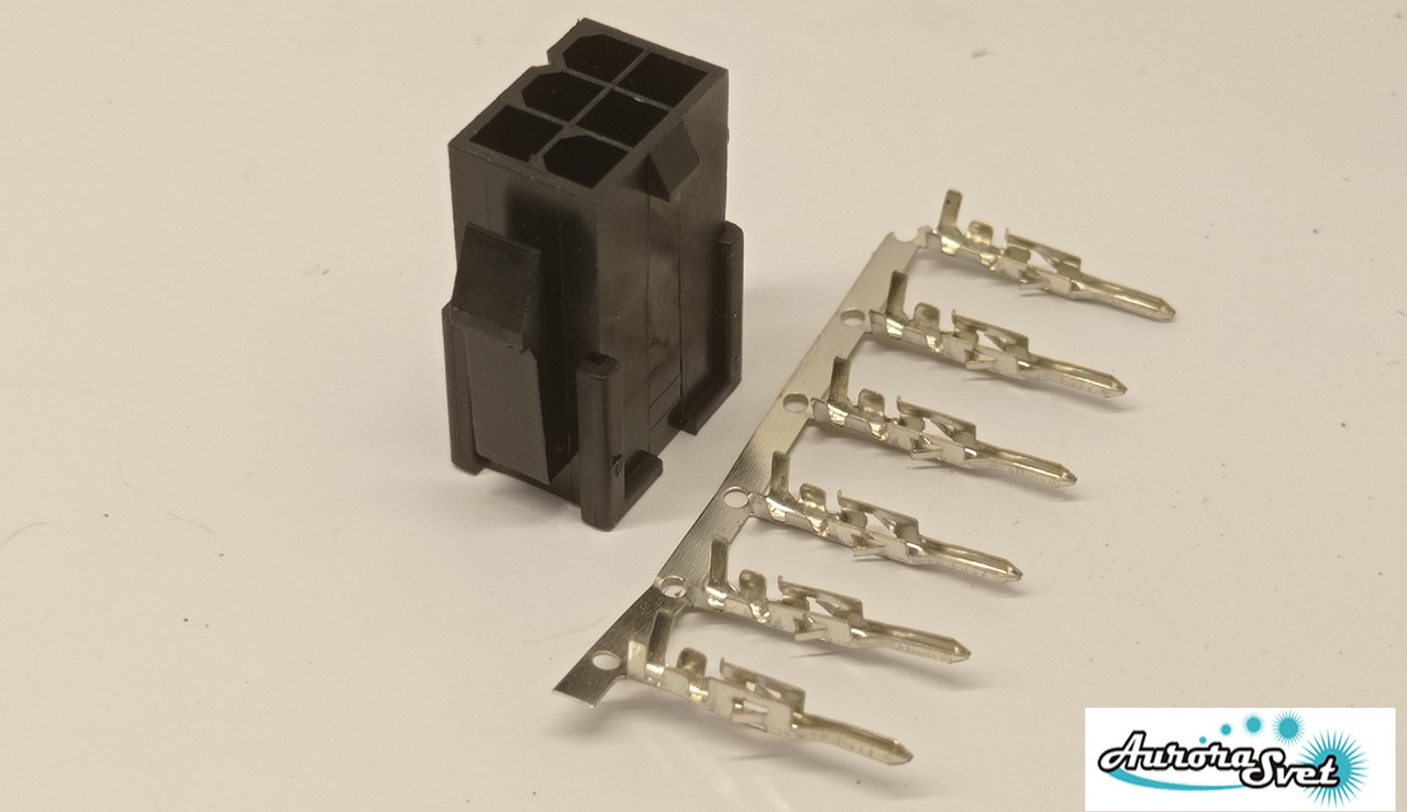 Разъем/коннектор 6 контактный Mini-Fit вилка + контакты,для питания PC под обжимку.Коннектор Molex 2x3Pin