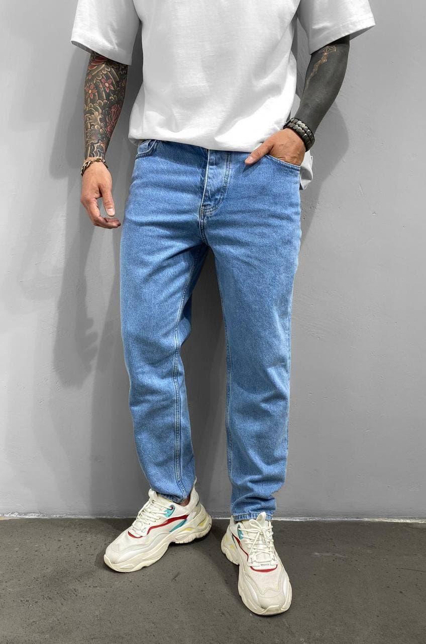 Мужские прямые джинсы МОМ голубого цвета, размеры 32, 36