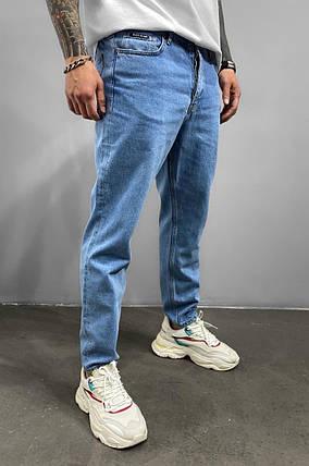Мужские прямые джинсы МОМ голубого цвета, размеры 32, 36, фото 2