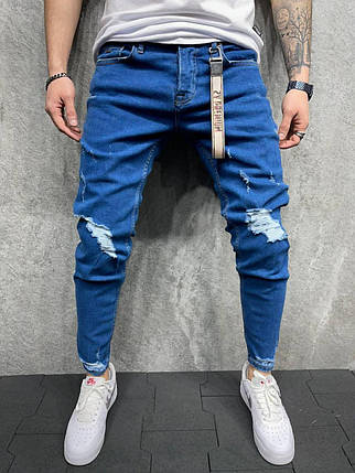 Чоловічі завужені джинси синього кольору, рвані, фото 2
