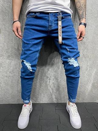 Мужские зауженные джинсы синего цвета рваные, фото 2