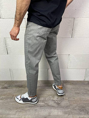 Мужские прямые джинсы МОМ серого цвета, фото 2