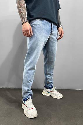Чоловічі джинси МОМ прямі блакитного кольору, фото 2