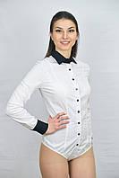 Белая женская блуза боди комбинированная