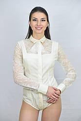 Кружевная женсккая блуза боди цвета айвори