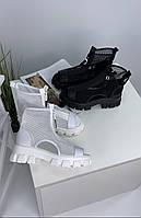 Женские летние ботинки сеточка на платформе белые , чёрные