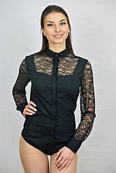 Кружевная  женсккая блуза боди  черного цвета