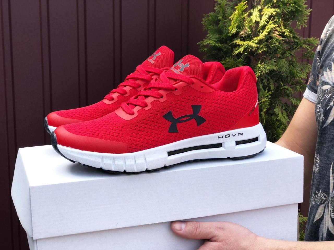 Under Armour мужские летние красные кроссовки на шнурках. Весенние мужские на сетке кроссы